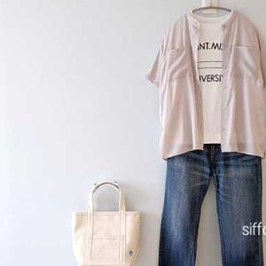 ロゴTに透け感のあるシャツをプラス!*今すぐ使えるアイテムがSaleに!and Meさん20時〜クーポンで20%オフ!!