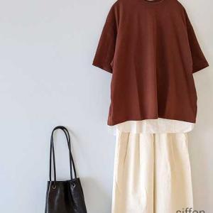 ブラウンTシャツにホワイトワイドパンツ*ORCIVALやordinary fitsなどWODDYさんポイント10倍!