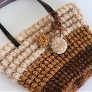 クロッシェカフェL9 パプコーン編みのトートバッグ(生徒さんの作品)