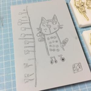 可愛い猫の絵をはんこにしました