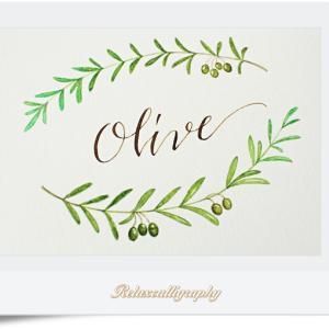 オリーブのボタニカルカード作りのレッスン。
