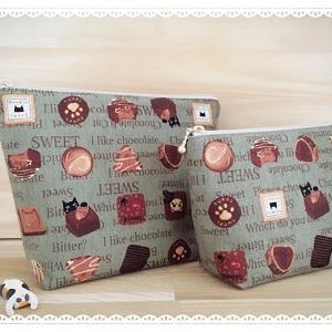 甘~いチョコレートと猫のポーチ(グリーン)