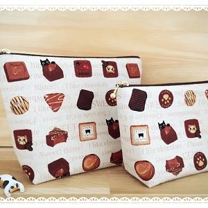 甘~いチョコレートと猫のポーチ(クリーム)