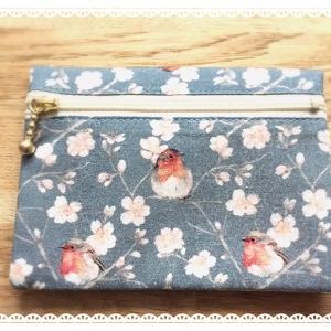 コマドリさんと桜のポケットティッシュケース