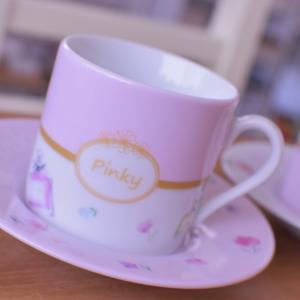 【オーダー】バイカラーが可愛いカップ&ソーサーセット♡