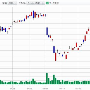 台風一過で持ち株上昇