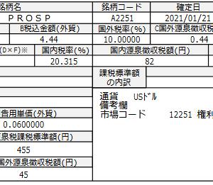 プロスペクトキャピタル(PSEC)より配当金をいただきました