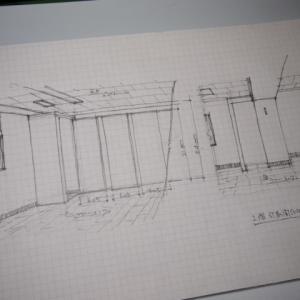 只今.足立区中居町ビル内装リフォーム工事休工中のラフスケッチ。