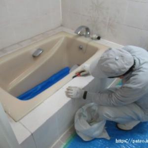 目黒区水廻り浴室リフォーム工事の内部シーリング開始。