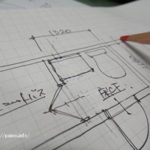 足立区某マンションリフォーム工事打ち合わせ後の図面作成中。