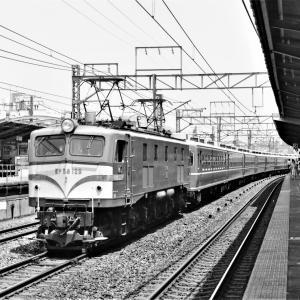 垂水駅通過するEF58東京釜牽引12系団臨