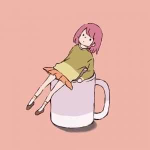マグカップの上に乗る少女