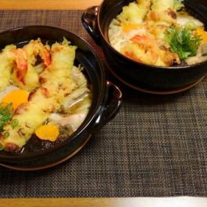 気分がマッチングした日の天ぷらのっけ鍋焼きうどん♪~♪