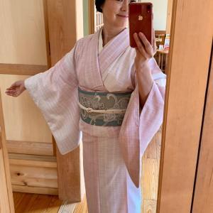 【春の着物コーディネート】桜色の変わり大島に博多帯