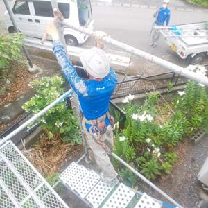 熊本県上益城郡御船の屋根塗装工事!※仮設足場組!