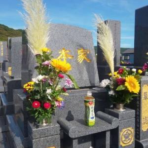 盆前の墓掃除&メンテナンス ロウソクがグニャグニャ・。・。