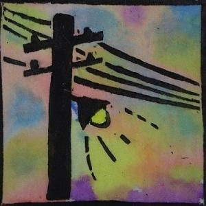 木版画 「明日への灯り」