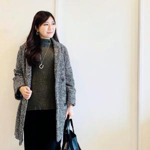 付け裾と大振りネックレスで暖かニットコーデ