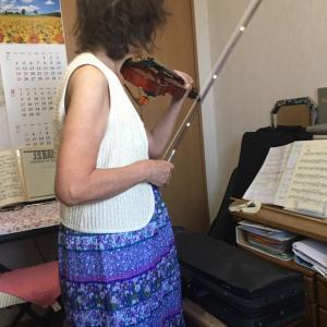 息子から受けるバイオリンレッスン(1回目)