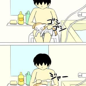 猫と一緒にお風呂♪