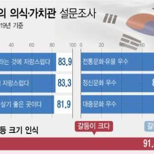 【驚愕w】韓国文化体育観光部調査「韓国人であることが誇らしい83.9% 韓国人は世界的に優秀93.3% 歴史が誇らしい83.3%」
