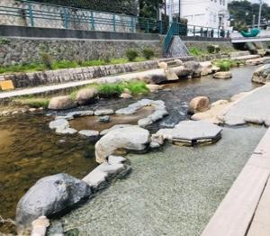 玉造温泉の足湯へ