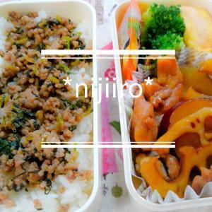 女子高校生のお弁当~そぼろご飯と鶏ももと根菜の煮物弁当