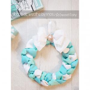 ティファニーカラーのリボンリース☆ribbon de wreathe by rinosu