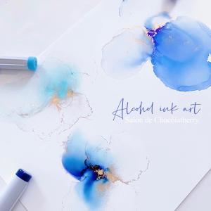 涼を感じるアルコールインクアート♡