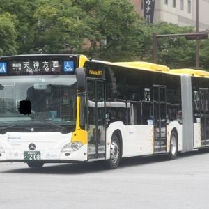 """2019.7博多・山陽旅(4.福岡市内を走る連接バス""""Fukuoka BRT""""を撮影する)"""