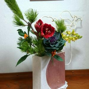 自宅玄関の正月花☆