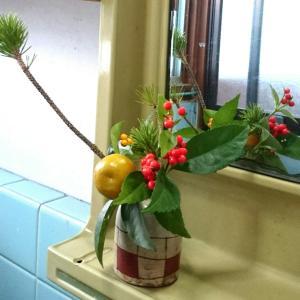 洗面所の正月花☆