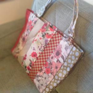 畳縁バッグ「赤、花」