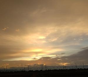 薄曇りで日曜日の朝