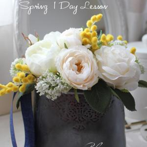 白バラとミモザのアレンジメント*春の1Dayレッスン【ご案内】