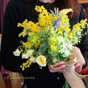 生徒さんの作品『ミモザのブーケ』*花を愉しむコース