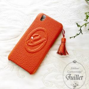 エルメスオレンジで《手帳型でない》スマホケース♡タッセルも+【カルトナージュ】イニシャル「Y」