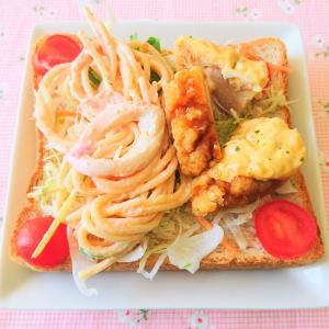 イオン の お惣菜 で たらこスパゲティ & タルタルチキン南蛮 トースト♪