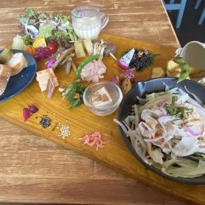 ゴマジェットカフェ(Goma jet cafe)のパンと食べる9種の野菜ヘルシー大人ランチ&豆腐自家製ハンバーグランチ