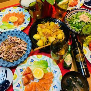 サーモンのカルパッチョとカレー風味のジャーマンポテト