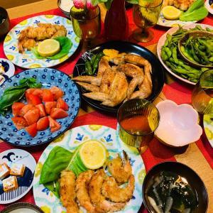 海老フライと枝豆食べ比べ