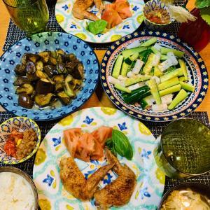 手羽先のグリル焼き&庭産野菜の晩ご飯