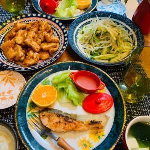秋鮭のムニエルとタコのカルパッチョ