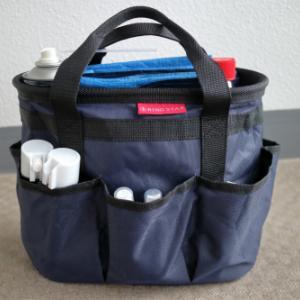 自転車チェーンのメンテナンス用品はバケツ型バッグでまとめておく