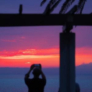 田原の夕景と三日月