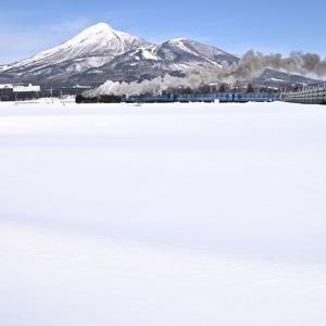 冬の磐梯山(磐越西線D51)