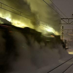 雪舞う中の出発(上越線C57+D51)