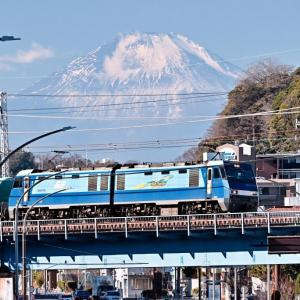 冠雪少ない今年の富士山(根岸線EH200)