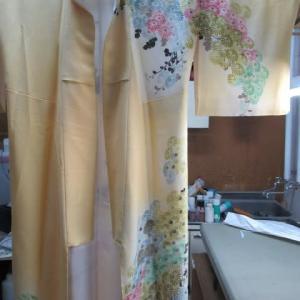 附下袷仕立上がり 衿ヤケ 色掛け 正絹素材