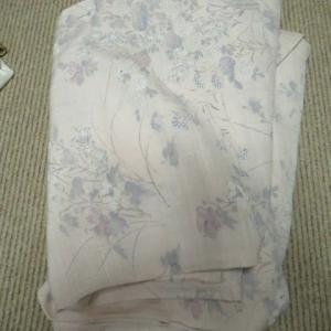 紬単衣解き済み 裾切り込み 洗い張り 正絹素材